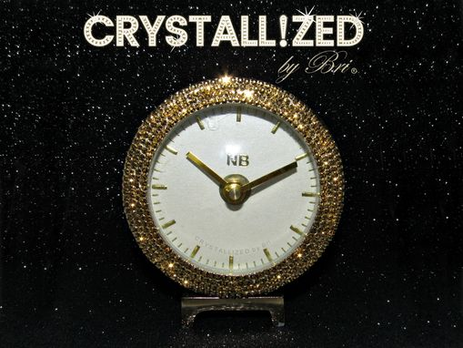 Custom Made Crystallized Gold Desk Clock Office Bling Made With Swarovski Crystals