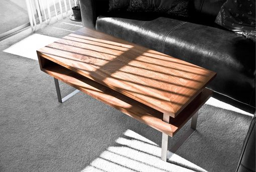 Custom Made Modern Sapele Wood And Steel Coffee Table