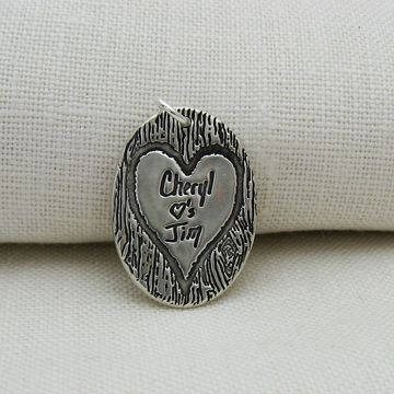 Custom Made Silver Necklace With Your Handwriting Engraved In A Heart On A Tree