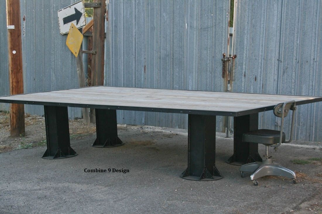 Buy Hand Made Vintage Industrial Conference Table Reclaimed Wood - Vintage industrial conference table
