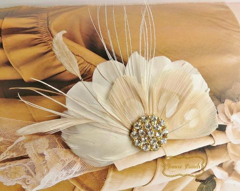 Custom Made Wedding Bridal Feather Fascinator