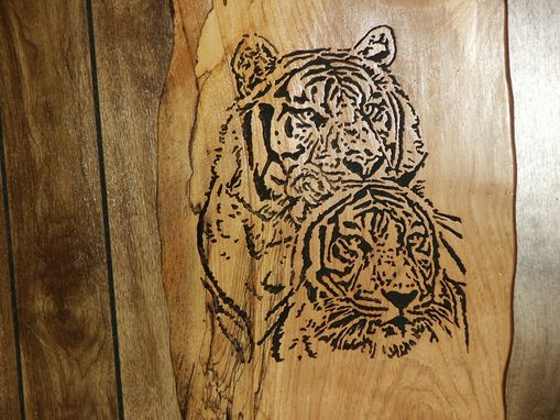 Custom Made Tigers  Woodcraving On A Slab Of Spalted Birch