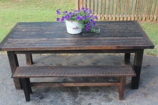 Custom Made Reclaimed Oak Farm Table And Matching Bench
