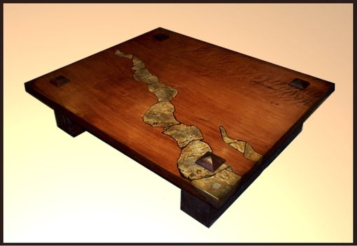 Custom Made Redwood Table With Stone Inlay