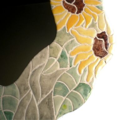 Custom Made Sunflower Mosaic Tile Mirror From Our 'Amoeba' Series