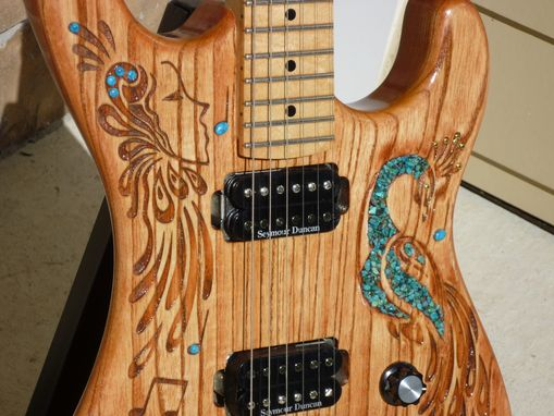Custom Made Hand Carved Peacock Electric Guitar With Turquoise Accents