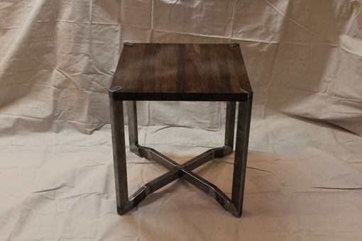 Custom Made Black Walnut And Steel End Table