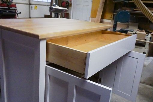 Custom Made Kitchen Island With Butcher Block Top