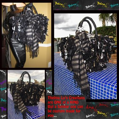 Custom Made Unique One Of A Kind Large Ultra Rag Fringe Handbag