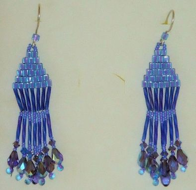 Custom Made Dangling Blue Beaded Earrings