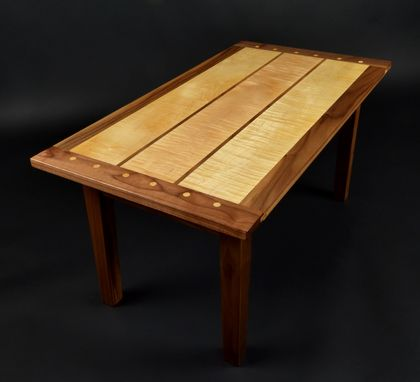 Custom Made Curly Maple And Black Walnut Coffee Table