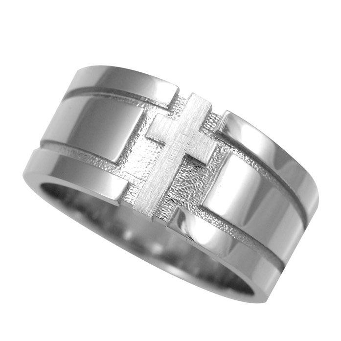 Fantastic Buy a Handmade Cross Men's Ring In Solid 14k White Gold, Religious  XX54