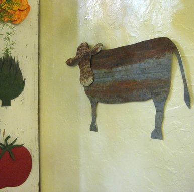 Custom Made Metal Cow Wall Art Farm Decor Reclaimed Metal Folk Art Kitchen Wall Sculpture