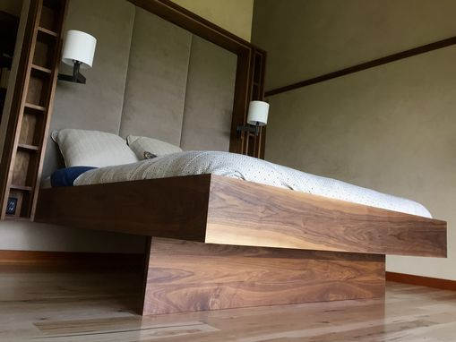 Custom Made Floating Walnut Bed, Shelving And Upholstered Headboard