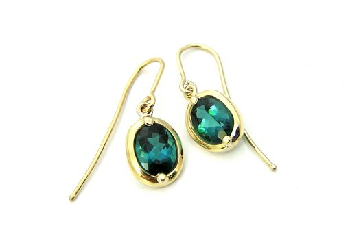 Custom Made Stunning Custom Indicolite Tourmaline Gemstone 18k Gold Drop Earrings