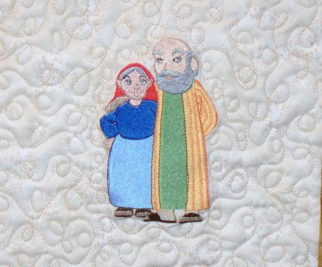 Custom Made Embroidered Noah's Ark Throw Qilt