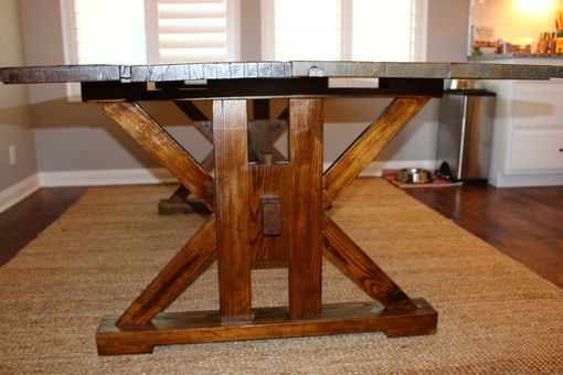 Custom Made Reclaimed Table With Trestle Base