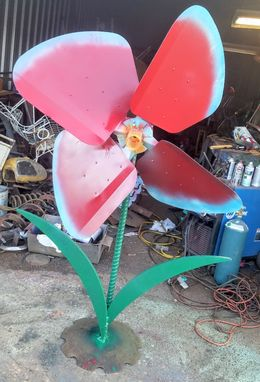 Custom Made Large Red Flower Scrap Metal Art