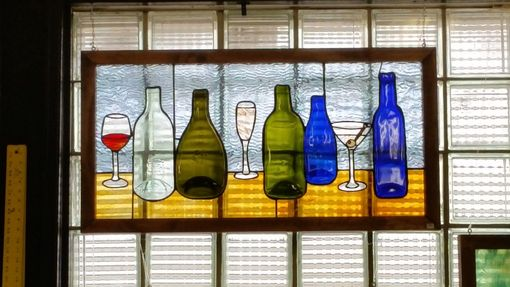 Custom Made Re-Purposed Wine Bottle Stained Glass Panel - 1
