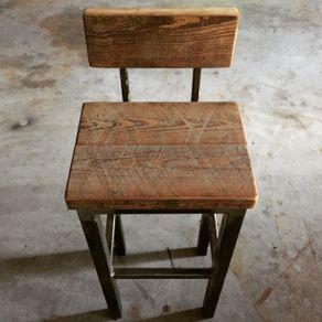 Custom Stools Steel And Reclaimed Wood