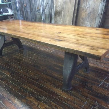 Custom Made Reclaimed American Chestnut Conference/Dining Table With Factory Legs