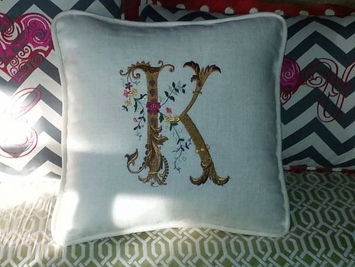 Custom Made Reversible, Fancy, Monogrammed 16 X 16 Inch Pillow