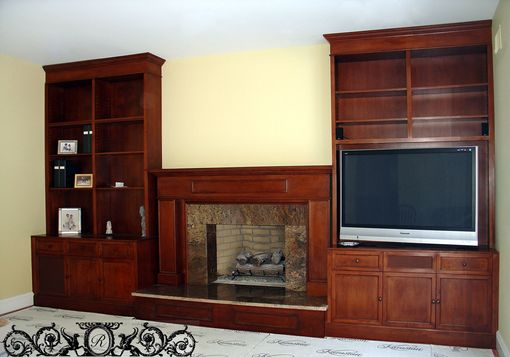 Custom Made Custom Maple Fireplace With Av Storage