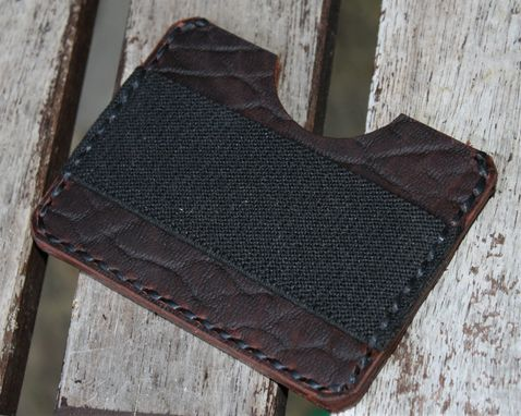 Custom Made Handmade Leather Parvus Wallet Bison Ol'red Folklore W/ Money Band