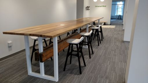 Custom Made Custom Contemporary Reclaimed Wood And Steel Conference Table.