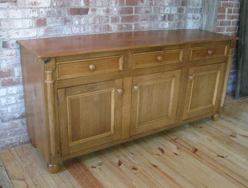 Custom Made Reclaimed Old Oak Server In Golden Brown Finish