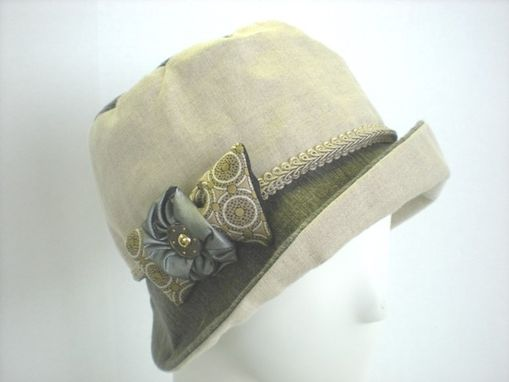 Custom Made Linen Fabric Cloche With Dragonfly Accent Fabric
