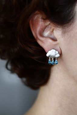 Custom Made Summer Rain With Blue Drops - Cloud Earrings For Winter Gift