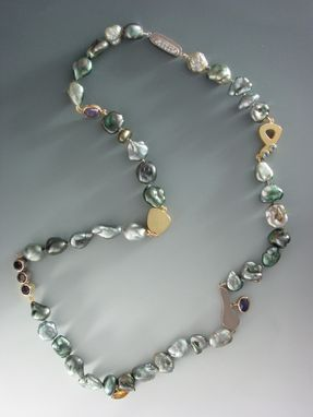 Custom Made Necklace With Yellow And White Gold, Diamond, Iolite, Smoky Quartz, Citrine,  Blue Topaz And Cultured Tahitian Keshi Pearls
