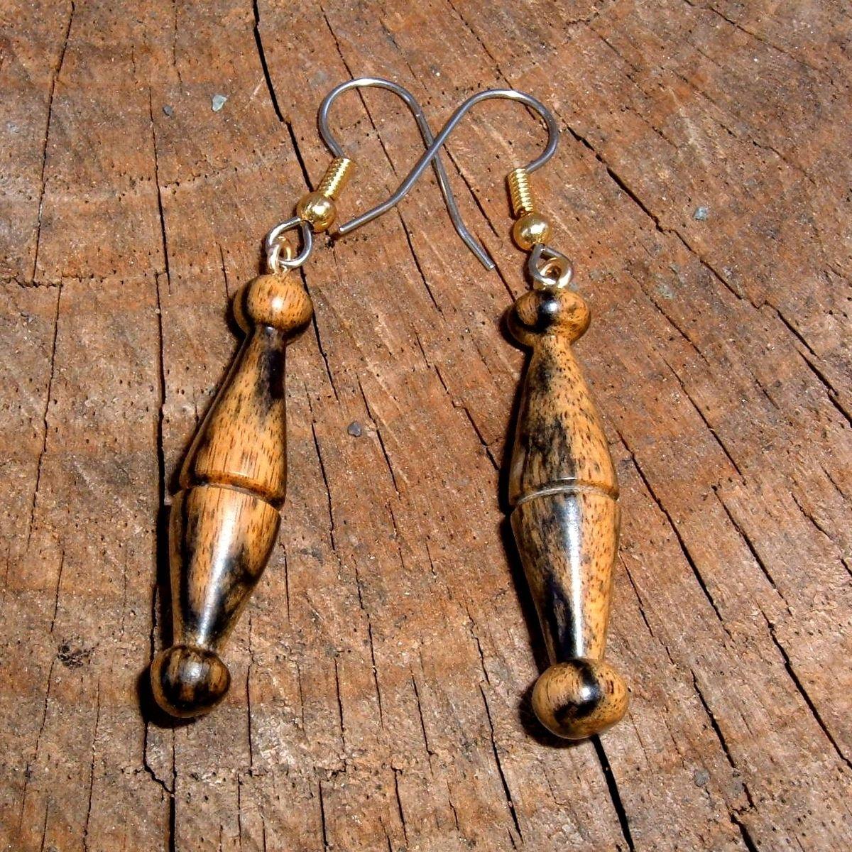 Custom Made Turned Wood Earrings Of Black And White Ebony, Very Light