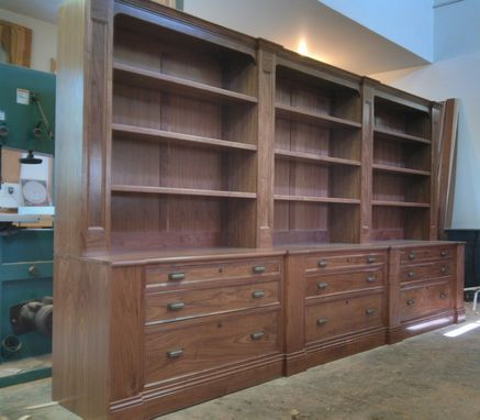 Custom Made Walnut Bookcase With File Drawers.