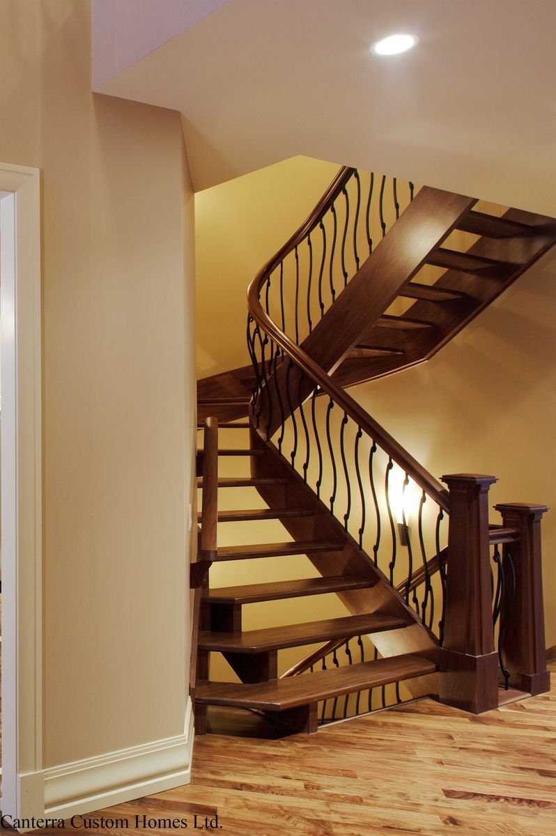Custom Curved Stair With S Shaped Spindles And Mariner