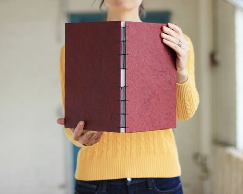 Custom Made Big Leatherette Sketchbook Or Journal In Red, With Watercolor Paper