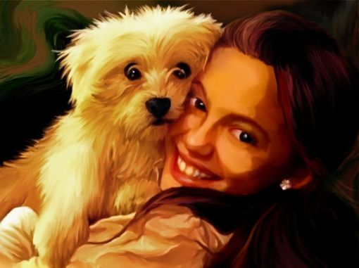 Custom Made Custom Portrait. Girl And Puppy