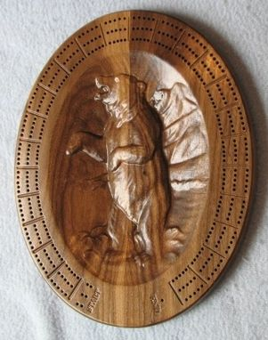 Custom Made Carved Wood Cribbage Board