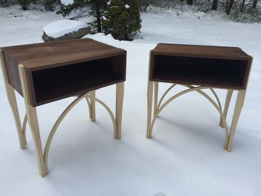 Custom Made Walnut & Ash Bedside Tables (Set)