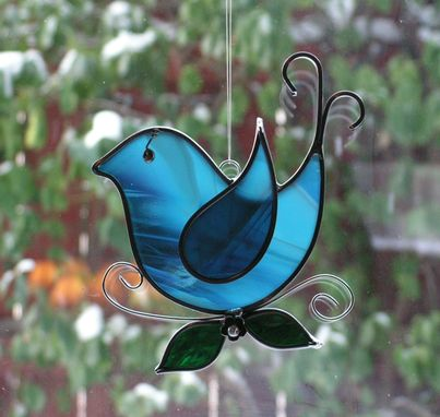 Custom Made Blue And White Bluebird Stained Glass Suncatcher