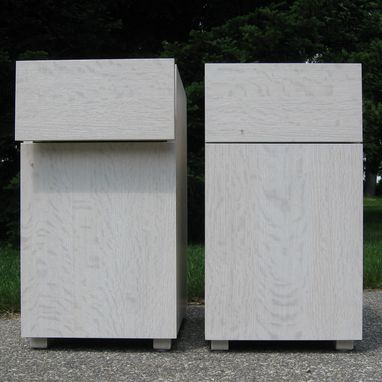 Custom Made Bleached And Whitewashed Oak Nightstands