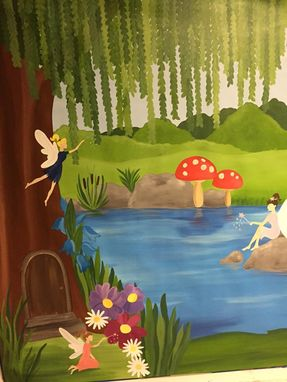 Custom Made Fairy Princess Mural On Canvas 6'Tall By 8'Wide