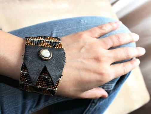 Custom Made Loom Beaded Bracelet Triangle Tribal Design Copper, Black, Silver