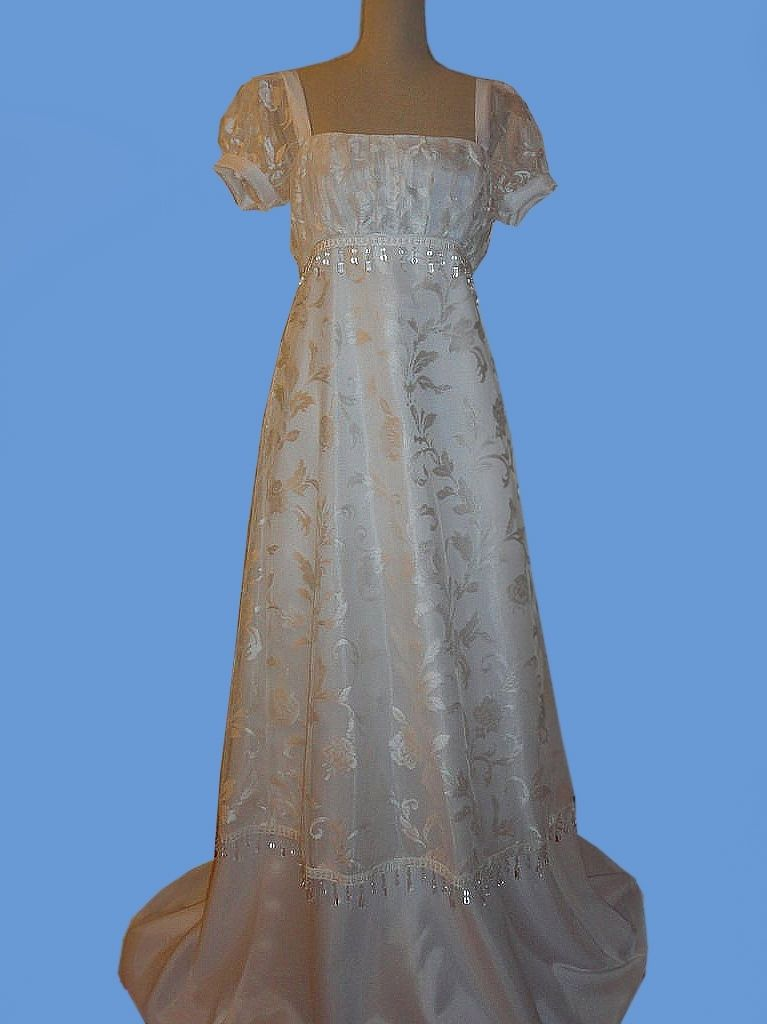 Hand Crafted Early 1800 S Regency Bridal Dress Or