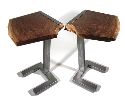 Custom Made Modern End Tables, Steel And Walnut, Live Edge