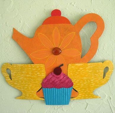 Custom Made Handmade Upcycled Metal Tea Party Wall Art Sculpture