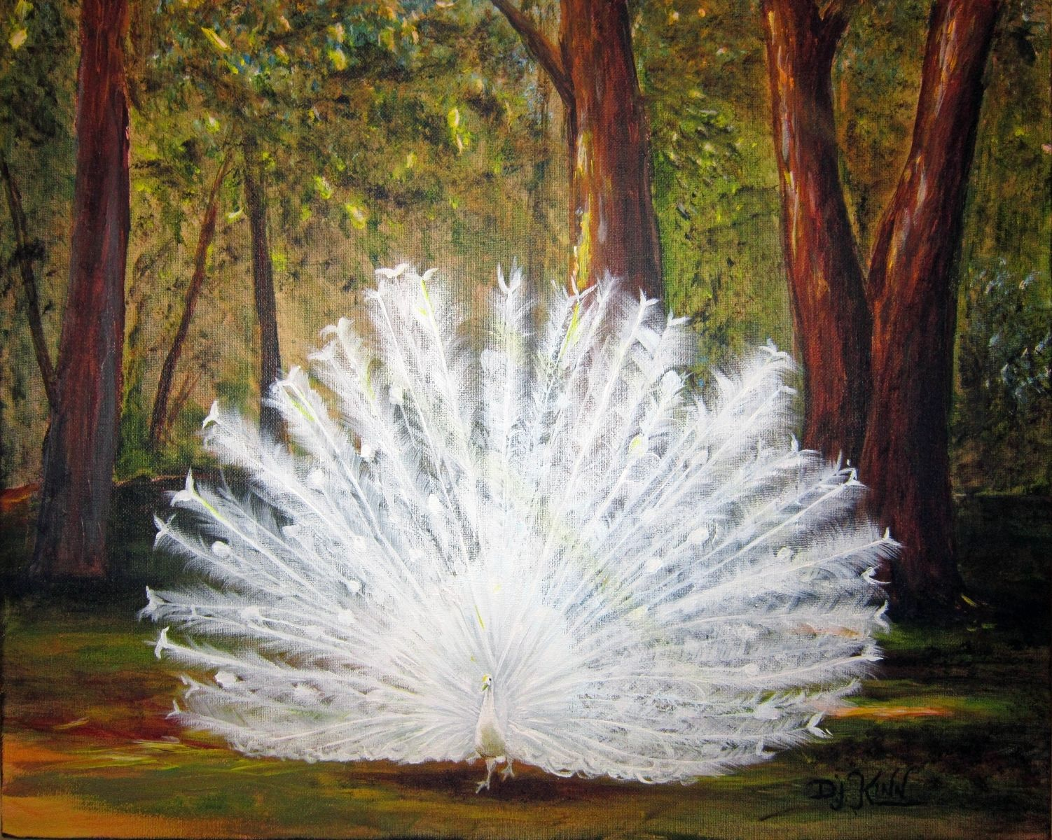 Custom White Peacock Painting Sold By Fine Art By Dottie