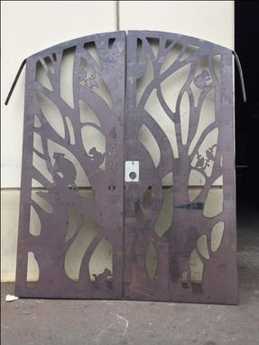 Custom Made Forrest Design Gate  Dual Entry Steel Garden Walk Thru Pedestrian Urban Gate