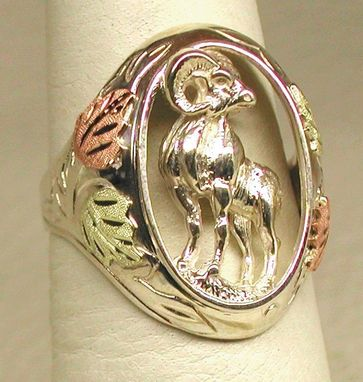 Custom Made Black Hills Gold On Silver Big Horn Ring